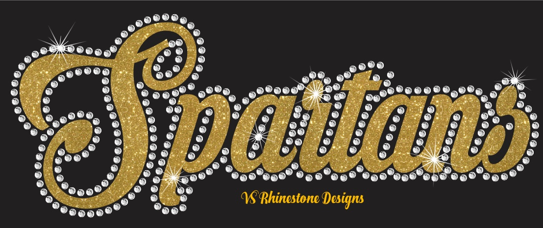 Spartans Cursive Vinyl and Rhinestone Transfer